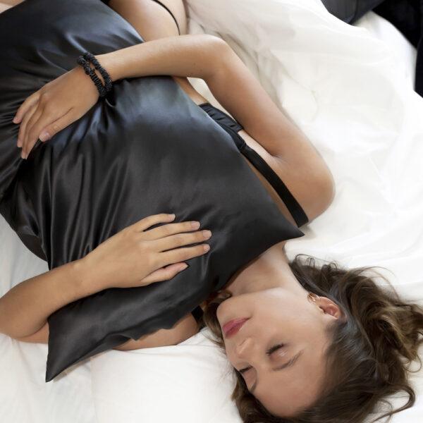black standard silk pillowcase