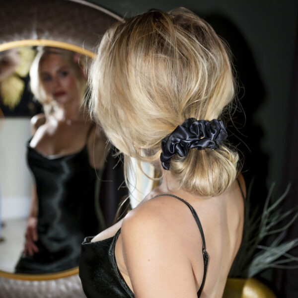 large black silk scrunchie