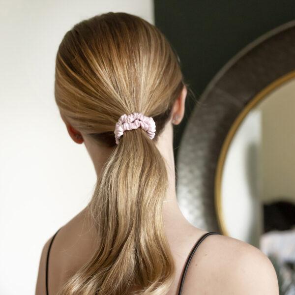 skinny pink rose silk scrunchie