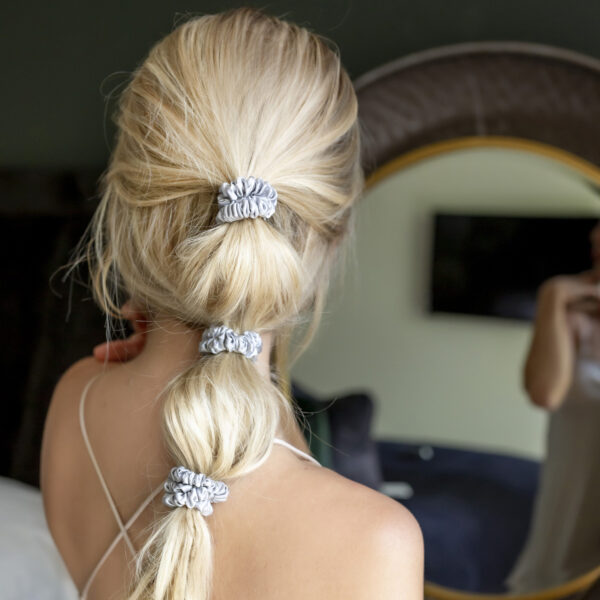 silver silk scrunchie