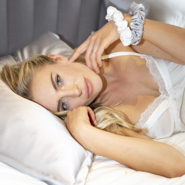 silver grey oxford silk pillowcase