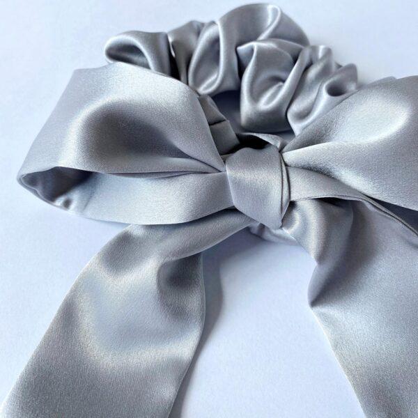 silver silk scunchie & ribbon