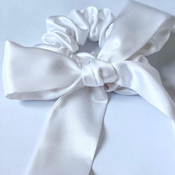 white silk scunchie & ribbon