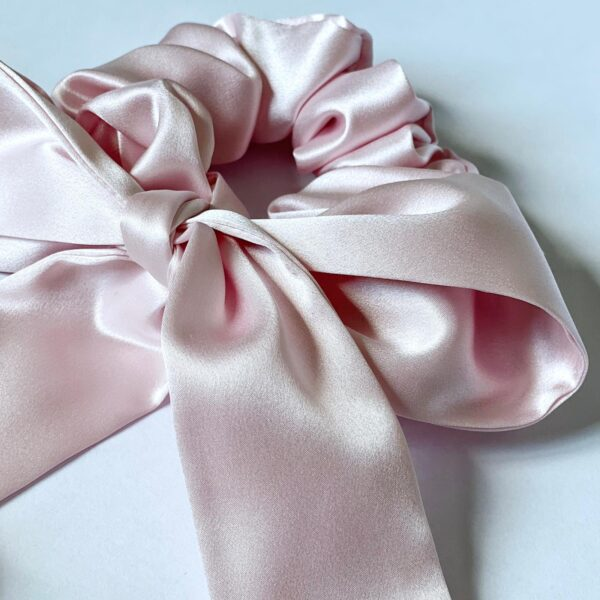 pink rose silk scunchie & ribbon