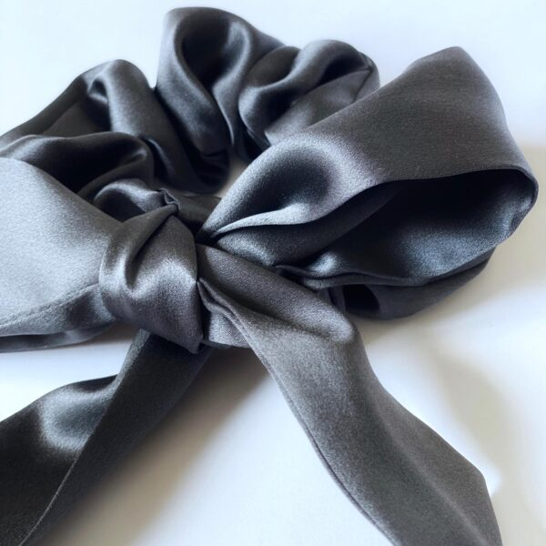 black silk scunchie & ribbon