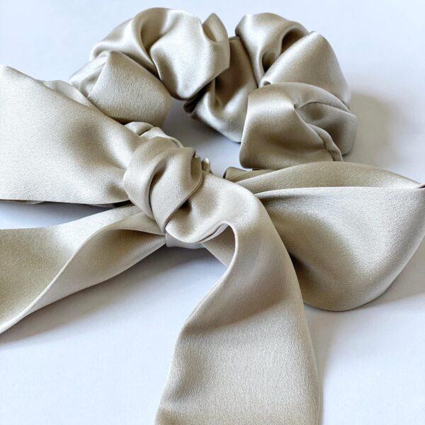 champagne silk scunchie & ribbon