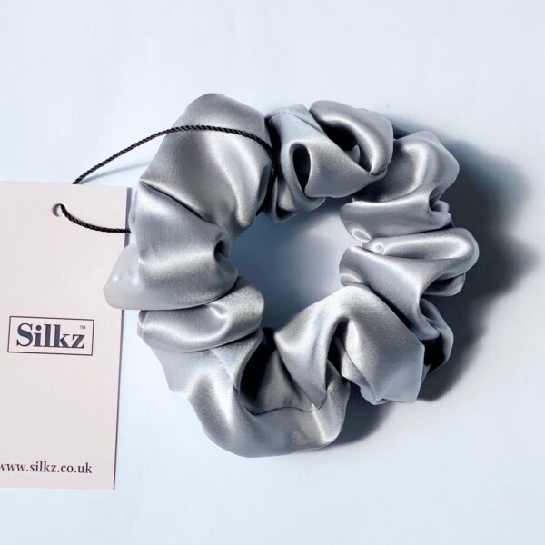 silver silk extra large scunchie